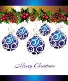 Christmas background with blue balls. Christmas winter christmas holiday pinecone berry holly ball royalty free illustration