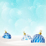 Christmas background with blue balls Stock Photo