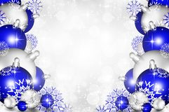 Christmas background blue balls. Beautiful snowflakes and shining stars stock illustration