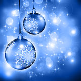 Christmas background blue balls Royalty Free Stock Photography