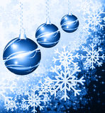 Christmas background blue balls Stock Photos