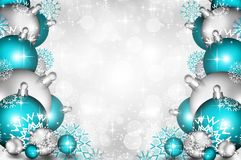 Christmas background blue balls. Beautiful snowflakes and shining stars Royalty Free Stock Photos