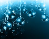 Christmas background blue balls. Beautiful snowflakes and shining stars royalty free illustration