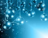 Christmas background blue balls. Beautiful snowflakes and shining stars Stock Images