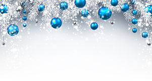 Christmas background. With blue balls. Vector paper illustration Stock Photos