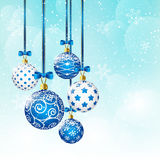 Christmas background with blue balls. Blue winter background with blue balls stock illustration