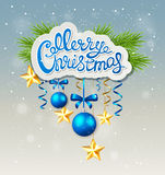 Christmas background with blue baubles Stock Photography