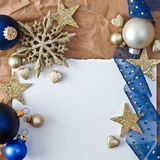 Christmas background with blue baubles Royalty Free Stock Photos