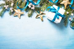 Christmas background on blue. stock photo
