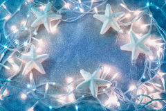 Christmas background from the blue color  lights.jpg Stock Photography