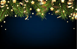 Christmas background. Christmas blue background with fir branch. Vector illustration Royalty Free Stock Photos
