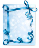 Christmas background with blue gift bows Stock Images