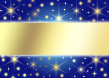 Christmas background. Christmas blue background with a golden rectangle.Christmas Greeting Card 2014 Stock Images