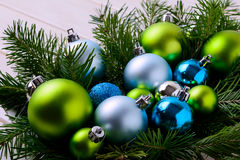 Christmas background with blue and green ornaments Royalty Free Stock Images