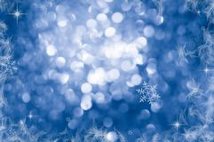 Christmas Background. Blue Holiday Abstract Glitter Defocused Background With Blinking Stars. Blurred Bokeh Stock Images