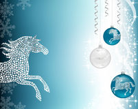 Christmas background blue with horse. Christmas background with baublea and silver horse Stock Photos