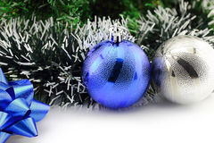 Christmas background with a blue ornament Royalty Free Stock Image