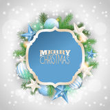 Christmas background with blue ornaments and branches vector illustration