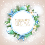 Christmas background with blue ornaments and branches stock photo
