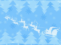 Christmas background in blue pastel. Christmas theme of Santa Claus running his reindeer among geometric christmas tree and tender snowflakes made in blue pastel royalty free illustration