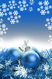 Christmas background with blue ribbon and balls Stock Photos