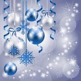 Christmas background in blue and silver with copy space Royalty Free Stock Images