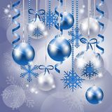 Christmas background in blue and silver Stock Photo