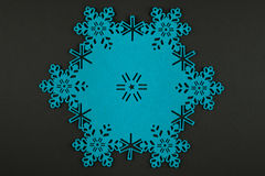 Christmas background with blue snowflakes and copy space Stock Photos