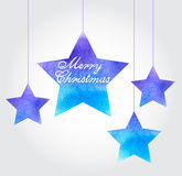 Christmas background with blue stars. Vector watercolor Christmas background with blue stars Royalty Free Stock Photography
