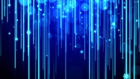 Christmas background blue theme, with lights streak , bokeh glittering and particles snowflake Royalty Free Stock Photo