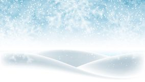 Christmas background, blue winter sky with falling snow and huge snowdrifts. Beautiful winter landscape, holiday scene