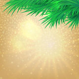 Christmas background with bokeh and the branches of trees. Vector shine golden Christmas background with bokeh elements and the branches of trees stock illustration