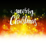 Christmas background with bokeh. Bright background with bokeh with the words merry Christmas cover Design background Royalty Free Stock Photos