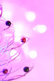 Christmas background of bokeh lights with close up christmas tree Royalty Free Stock Photo