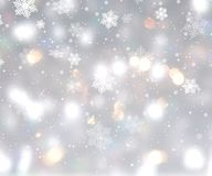 Christmas background with bokeh lights and snowflakes. Christmas background with bokeh lights and falling snowflakes royalty free illustration