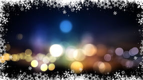 Christmas background of bokeh lights and snowflakes. Festive Christmas background with bokeh lights and snowflakes Royalty Free Stock Photos