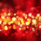 Christmas background with bokeh lights and stars. Design stock illustration