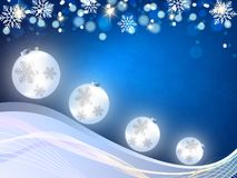 Christmas background, Bokeh snowflakes , blue background, red ball, Christmas tree backgrounred. Christmas background, Bokeh snowflakes , blue background, red Royalty Free Stock Images