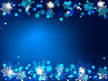 Christmas background, Bokeh snowflakes , blue background, red ball, Christmas tree backgrounred. Christmas background, Bokeh snowflakes , blue background, red Royalty Free Stock Photos