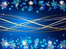 Christmas background, Bokeh snowflakes , blue background, red ball, Christmas tree backgrounred. Christmas background, Bokeh snowflakes , blue background, red Royalty Free Stock Photo