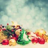 Christmas Background with Bokeh Sparkle. Decoration Border on White Snow Stock Photo