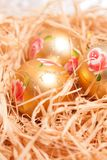 Christmas  background with boll and strow in gold Royalty Free Stock Images
