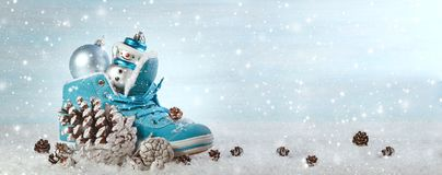 Christmas background with boots and Christmas decorations. Panoramic image Royalty Free Stock Photo