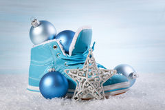 Christmas background with boots Royalty Free Stock Photo