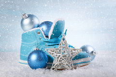 Christmas background with boots Royalty Free Stock Images