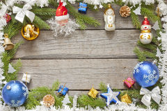 Christmas background border with baubles Stock Images
