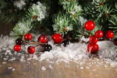 Christmas background border of branches on wood Stock Photography