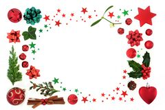 Christmas Background Border Decoration with Baubles and Flora