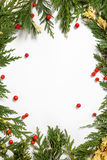 Christmas background border with evergreen fir tree Royalty Free Stock Photography