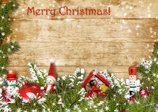 Christmas background with border of fir branches Stock Photo